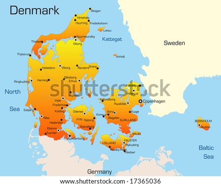 Abstract Vector Color Map Denmark Country Stock Vector (Royalty Free ...