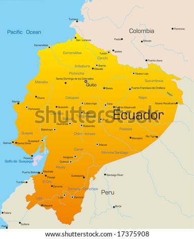 Abstract vector color map of Ecuador country - stock vector