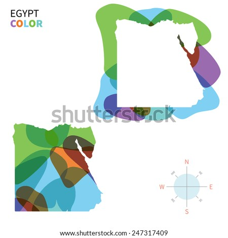 Abstract vector color map of Egypt with transparent paint effect. For colorful presentation isolated on white. - stock vector