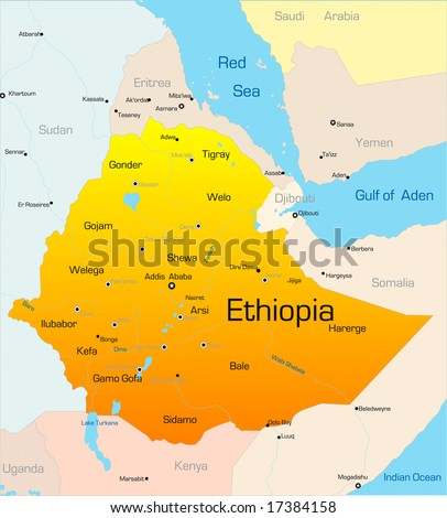 Abstract Vector Color Map Ethiopia Country Stock Vector - Map of ethiopia