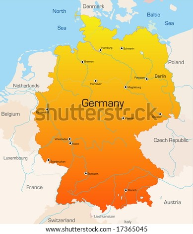 Abstract vector color map of German country
