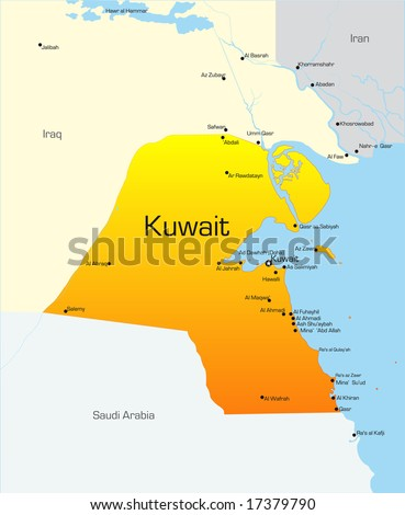 Abstract vector color map of Kuwait country - stock vector