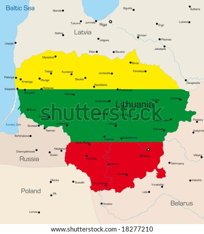 Abstract vector color map of Lithuania country coloured by national flag - stock vector
