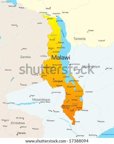 Abstract vector color map of Malawi country
