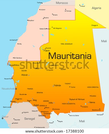 Abstract vector color map of Mauritania country - stock vector