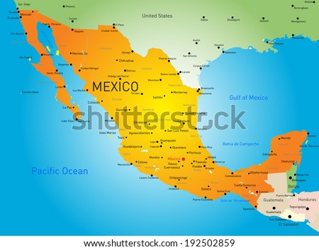 Abstract vector color map of Mexico country - stock vector