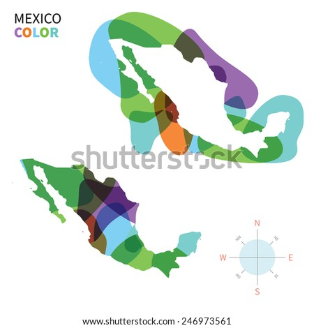 Abstract vector color map of Mexico with transparent paint effect. For colorful presentation isolated on white. - stock vector