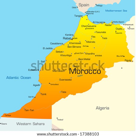 Abstract vector color map of Morocco country - stock vector