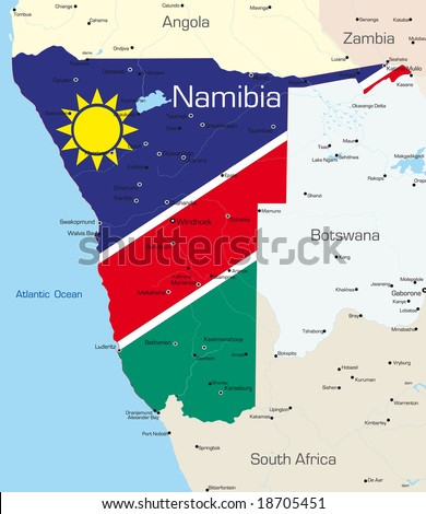 Abstract vector color map of Namibia country colored by national flag - stock vector