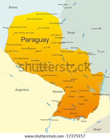 Abstract vector color map of Paraguay country - stock vector