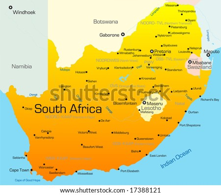 Abstract vector color map of South Africa country - stock vector