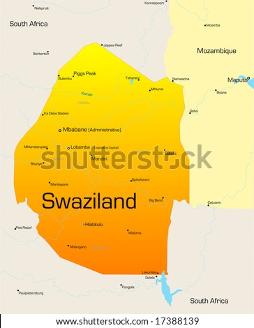 Abstract vector color map of Swaziland country - stock vector