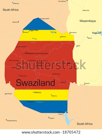 Abstract vector color map of Swaziland country colored by national flag - stock vector