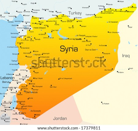 Abstract vector color map of Syria country - stock vector