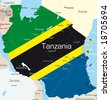 Abstract vector color map of Tanzania country colored by national flag - stock vector