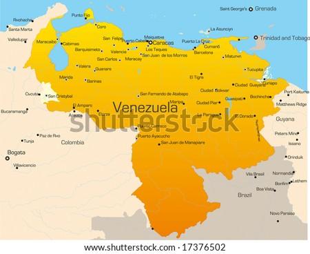 Abstract Vector Color Map Venezuela Country Stock Vector - Map of venezuela south america