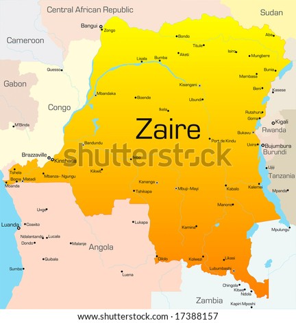 Abstract vector color map of Zaire country - stock vector