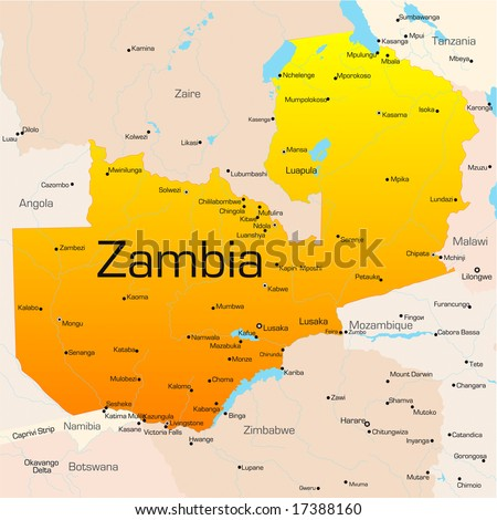 Abstract vector color map of Zambia country