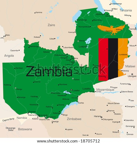 Abstract vector color map of Zambia country colored by national flag - stock vector