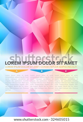 Abstract vector colored background of brochure with 3D triangles and ABC choices - stock vector
