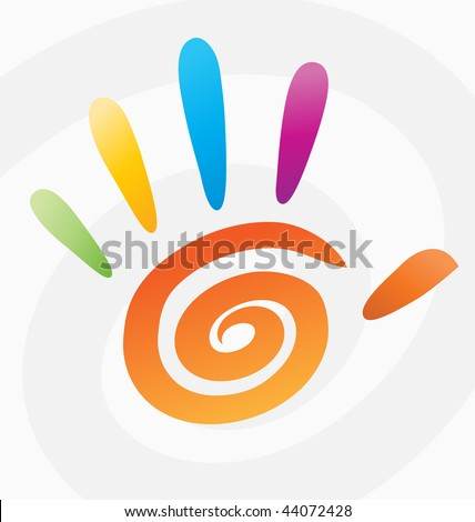 Abstract vector colored spiral hand 5 fingers. Color art print web design five fingers person hand - peace symbol icon, background. Spiral design element. Hand with 5 fingers creative clipart concept - stock vector