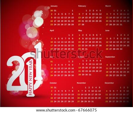 abstract vector - colorful 2011 calendar design element. - stock vector