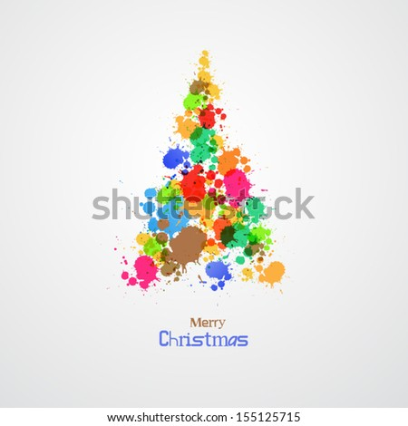 Abstract Vector Colorful Christmas Tree - stock vector