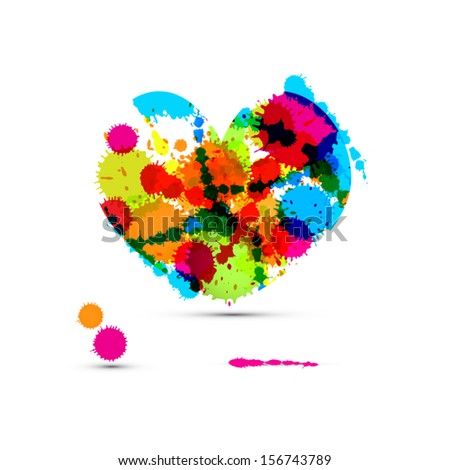 Abstract Vector Colorful Heart Made From Splashes, Blots - stock vector