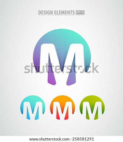 Abstract vector colorful letter m design for company visual identity. Stamp. Logo design templete  - stock vector