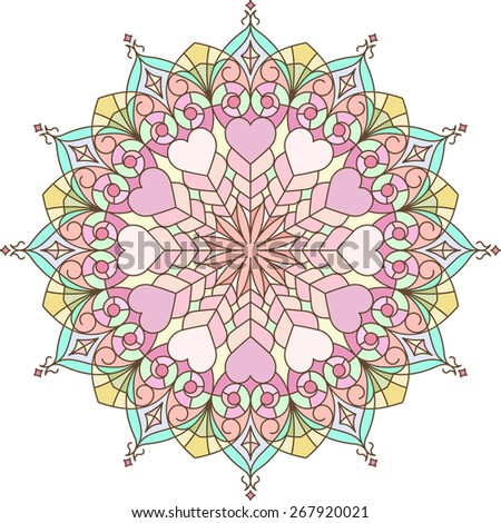 Abstract vector colorful round lace design in mono line style - mandala, decorative element with gentle and pleasant colors - stock vector