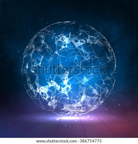 Abstract vector colorful sphere. Futuristic techno style. Trendy background for business presentations. Flying triangles.