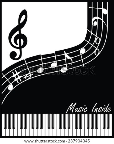 abstract vector composition on a musical theme in black and white interpretation - stock vector