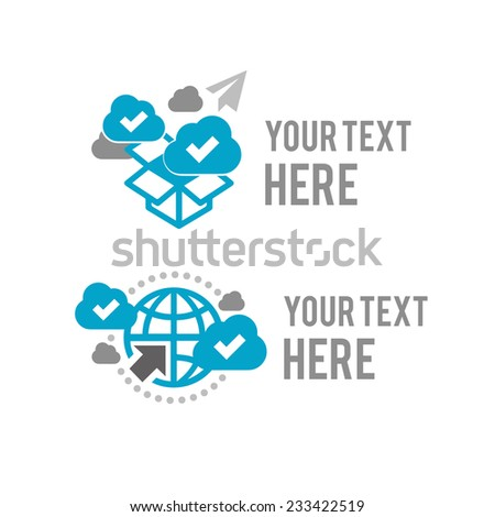 Abstract vector concept of cloud, box, and globe computing with graphic icons logo logotype vector icon. Isolated on white background - stock vector