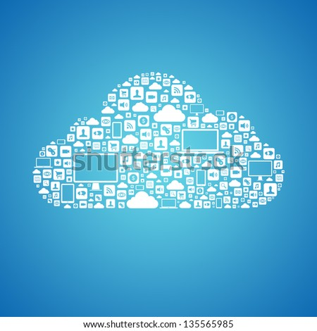 Abstract vector concept of cloud computing with many graphic icons which form a cloud shape. Isolated on blue background - stock vector