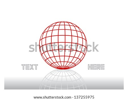 abstract vector concept with dimensional globe, grid ball and place for text isolated on white - stock vector