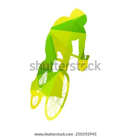Abstract vector cyclist - stock vector