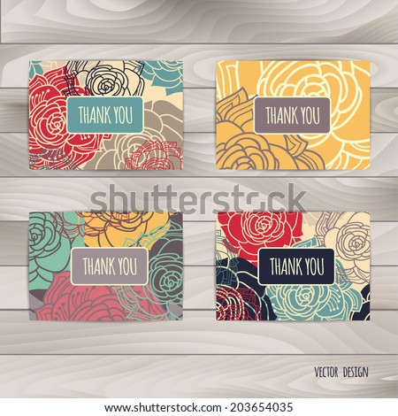 Abstract vector decorative banners set.  Template frame design for card. Thank you card. Abstract background.  - stock vector