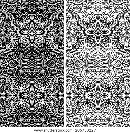 Abstract vector decorative ethnic ornamental backgrounds, border lace patterns set. Series of image template frame design for card, hand drawn artwork black and white - stock vector