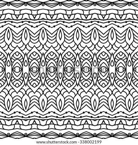 Abstract vector decorative ethnic sketchy seamless pattern. Geometric seamless pattern. Anti-stress coloring. Abstract black and white ornament, lace texture.  - stock vector