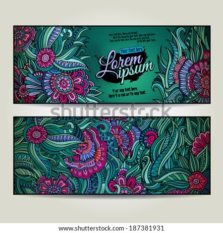 Abstract vector decorative floral backgrounds. Series of image Template frame design for card. - stock vector