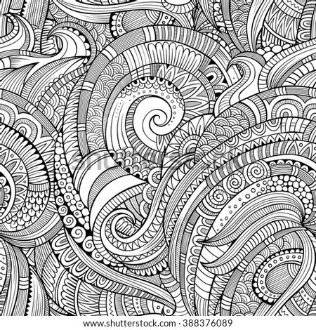 Abstract vector decorative hand drawn nature floral ornamental sketchy ethnic seamless pattern. Can be used for wallpaper, pattern fills, web page background, surface textures - stock vector