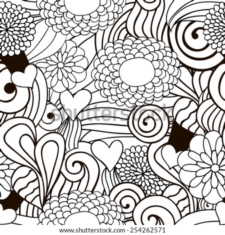 Abstract vector decorative nature ornamental seamless pattern. Vector illustration monochrome. Hand drawn illustration can be copied without any seams. Perfect for textile and wrapping paper print. - stock vector