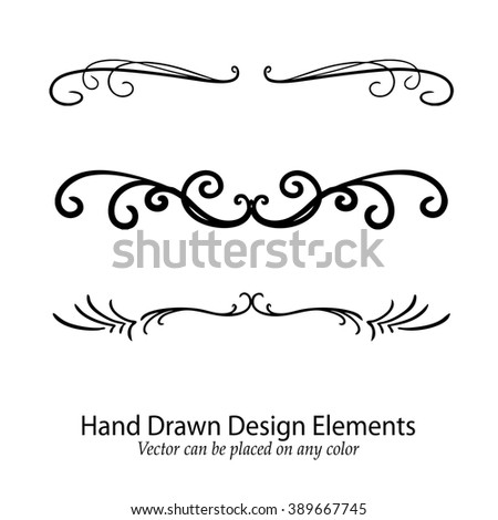 abstract vector design elements, set of beautiful fancy curls and swirls paragraph or text divider, underline design, or border, black ink lines. Wedding design element. Vector can go on any color.  - stock vector
