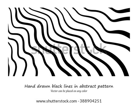 abstract vector design, hand drawn wavy lines in modern abstract art background doodle, black ink marker stripes in random waves pattern for graphic art designs, vector can be placed on any color - stock vector