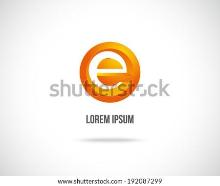 Abstract Vector Design Template. Creative Orange Concept Icon. Combination of Letter E - stock vector