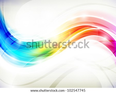 Abstract  vector design with multicolored transparent waves - stock vector