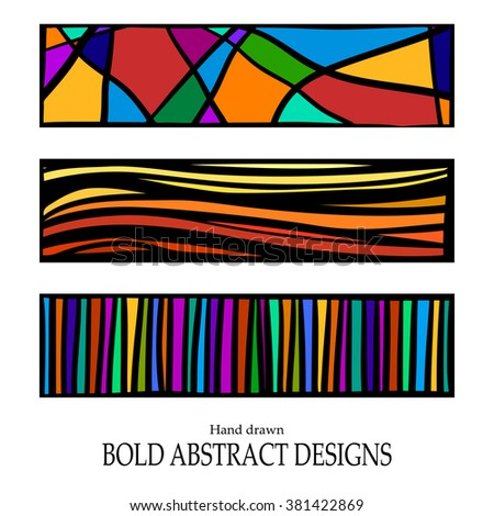 abstract vector designs, hand drawn bold lines and stained glass pattern rectangles with bright fun bold colors in dramatic modern art style