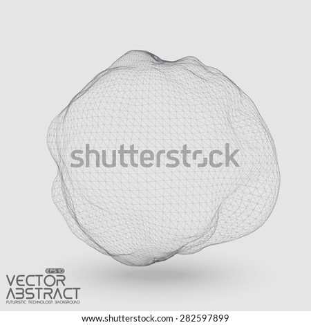 Abstract vector distorted sphere constructed with connected points. Futuristic technology style. Elegant background for business presentations.Eps10 - stock vector