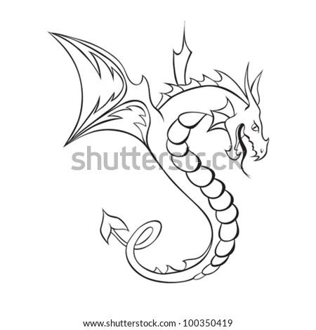 Abstract vector Dragon Tattoo. Vector illustration. - stock vector