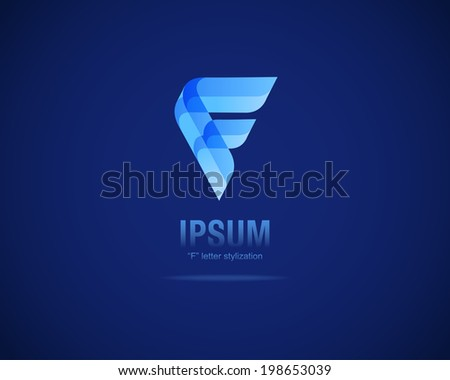 Abstract Vector Emblem Design Template. Creative Blue Concept Icon. Combination of Letter F - stock vector